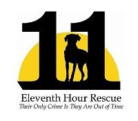 """The 11th Hour Animal Rescue (Rockaway, New Jersey) logo is """"11"""" with a dog between the 1s in front of a yellow half circle"""