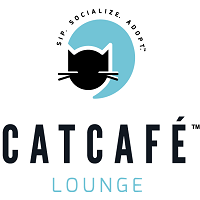 """CatCafé Lounge (Culver City, California) logo is black and teal with a cat head and """"sip, socialize, adopt"""" tagline"""