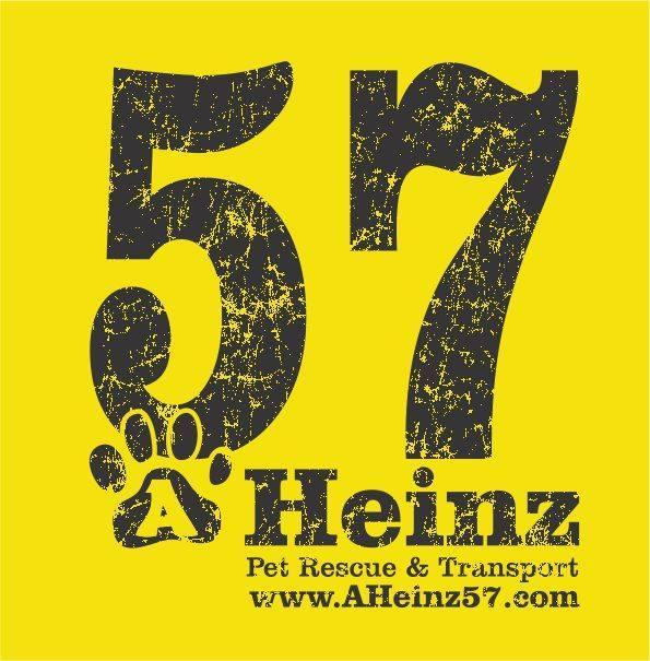 A Heinz 57 Pet Rescue & Transport (De Soto, Iowa) logo with text in yellow square and pawprint