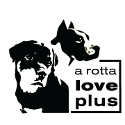 A Rotta Love Plus logo with Rottweilers
