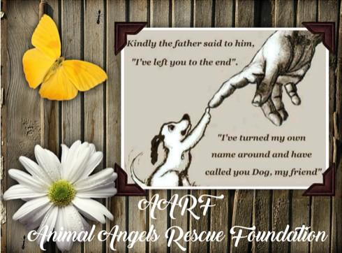 AARF - Animal Angels Rescue Foundation (Henderson, Nevada) logo with poem dog flower hand butterfly