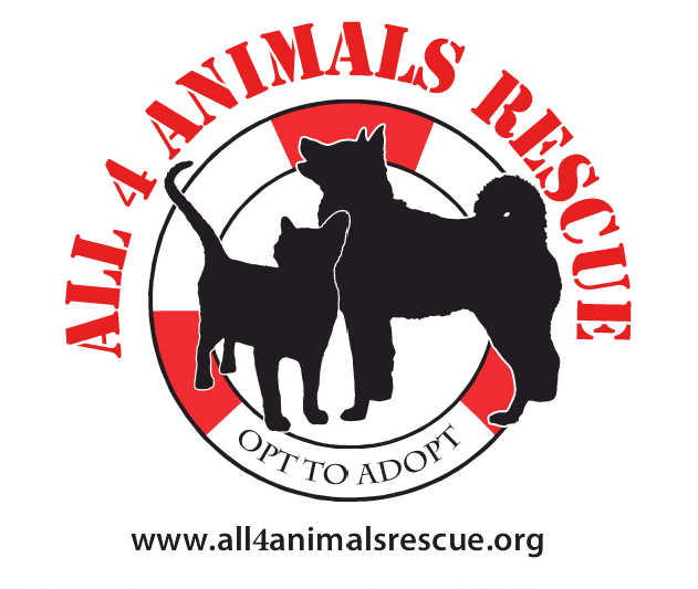 All 4 Animals Rescue (Mishawaka, Indiana) logo with dog and cat in lifesaver ring