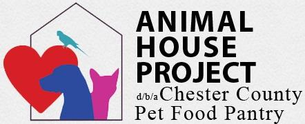"""Animal House Project (Pottstown, Pennsylvania) logo with cat, dog, bird, heart, house and """"dba Chester County Pet Food Pantry"""""""
