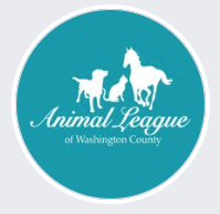 Animal League of Washington County, (Fayetteville, Arkansas), logo circle teal background with dog, cat, horse in white