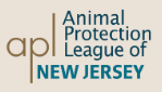 Animal Protection League of NJ (Glen Gardner, New Jersey) logo is apl in brown to left of org name & above state name in blue