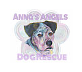Anna's Angels Dog Rescue, (Beaumont, Texas) logo painting of dog face between text Anna's Angels and Dog Rescue
