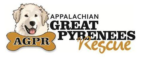 Appalachian Great Pyrenees Association (Richmond, Virginia) logo with white great pyrenees face with AGPR appearing in dog bone