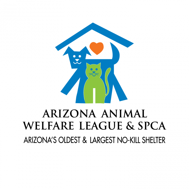 Arizona Animal Welfare League & SPCA (Phoenix, Arizona) logo blue dog green cat under blue roof with red heart