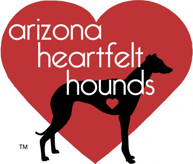 Arizona Heartfelt Hounds (Tucson, Arizona) logo with red heart background with black greyhound silhouette with heart