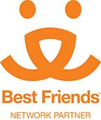 """Best Friends Dog Rescue (Cairo, Georgia) logo with """"Keep those tails wagging"""" tagline"""