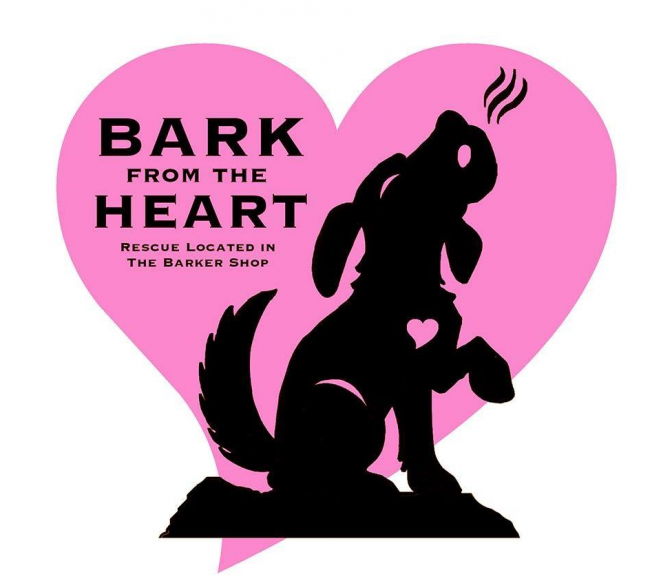 Bark from the Heart Rescue (La Grange, Illinois) logo with dog howling in pink heart