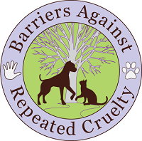 Barriers Against Repeated Cruelty(Chicago, Illinois) logo of dog, cat, tree, hand, paw