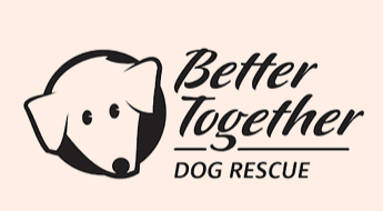 Better Together Dog Rescue, (Belchertown, Massachusetts) logo dog face in black with black text on peach background