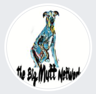The Big Mutt Network, Inc., (Vail, Arizona) logo circle with blue and black drawing of large dog on white background above name
