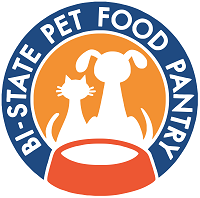 Bi-State Pet Food Pantry (St Louis, Missouri): Blue & orange circle logo with a white cat & dog sitting in front of a food bowl