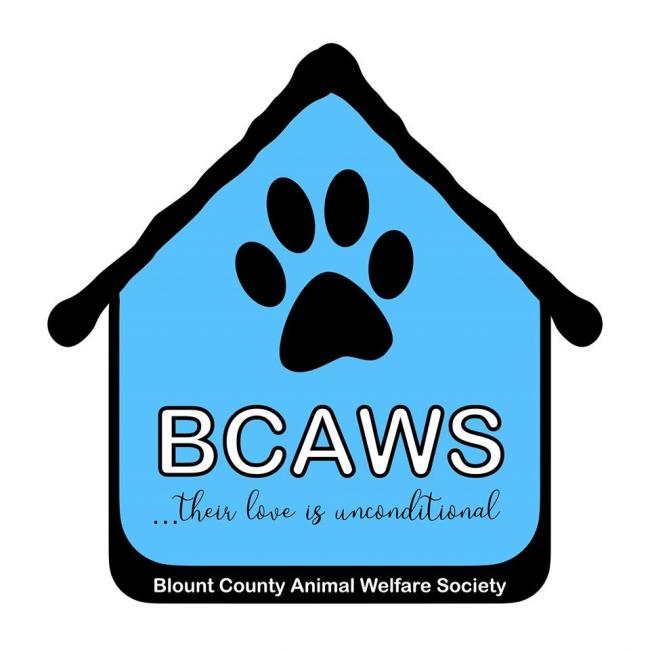 Blount County Animal Welfare Society (BCAWS) (Maryville, Tennessee) logo with pawprint in dog house
