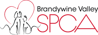 Brandywine Valley SPCA (West Chester, Pennsylvania) logo with dog and cat inside a heart