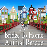 Bridge to Home Animal Rescue (Eighty Four, Pennsylvania) logo with dog on a bridge and houses