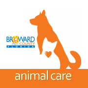 Broward County Animal Care and Adoptions (Fort Lauderdale, Florida) logo of white cat with an orange heart inside an orange dog