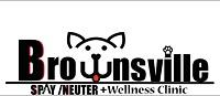 """Brownsville Spay Neuter (Brownsville, Texas) logo has a dog face forming the """"w"""" in """"Brownsville"""""""