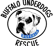 Buffalo Underdogs Rescue (Amherst, New York) logo with black and white boxer type dog with blue collar that says buffalo