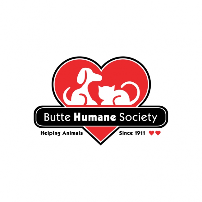 Butte Humane Society (Chico, California) logo dog and cat in heart