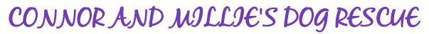 Connor and Millie's Dog Rescue (Las Vegas, Nevada) logo with rescue's name in purple