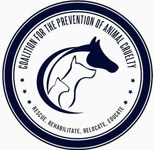 Coalition for the Prevention of Animal Cruelty (Crockett, Texas) logo with horse, dog, cat and with name & tagline in circle