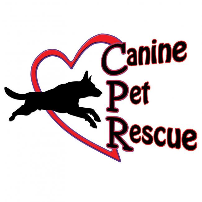 Canine Pet Rescue (Dacula, Georgia) logo black dog jumping through red heart with blackk and red lettering