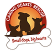 """Caring Hearts Rescue (Springfield, Virginia) logo with dogs, text """"small dogs, big hearts"""" appearing in a bone"""