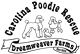Carolina Poodle Rescue (Greer, South Carolina) logo has three different sized poodles in the middle of the wording