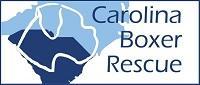 Carolina Boxer Rescue (Mint Hill, North Carolina) logo has boxer head outline over blue North and South Carolina states