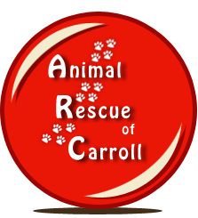 Animal Rescue of Carroll (Carroll, Iowa) logo with red ball and paw prints