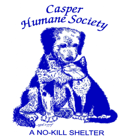 Casper Humane Society (Casper, Wyoming) logo is drawing of cat nuzzling dog with organization name at the top all in blue