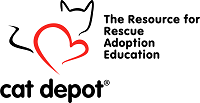 Cat Depot (Sarasota, Florida) cat logo and tagline, 'The Resource for Rescue Adoption Education'