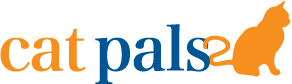 Cat Pals (Hollywood, Florida) logo has orange and blue letters followed by an orange cat