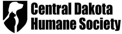 Central Dakota Humane Society (Mandan, North Dakota) logo black crest with white dog silhouette black cat silhouette inside
