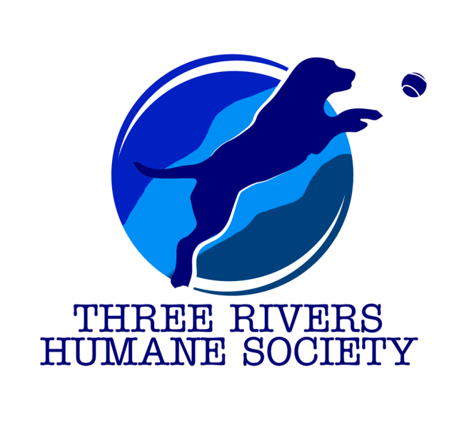 Central Oregon Animal Friends (Madras, Oregon) logo with three rivers humane society text dog chasing ball