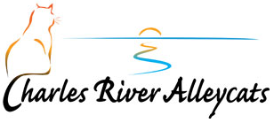 Charles River Alleycats (Cambridge, Massachusetts) logo with outline of a cat looking toward sunset over river