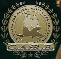 Coalition for Animal Rescue and Education (Hillsboro, Missouri) logo with dog, cat, family and 'C.A.R.E.'
