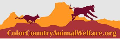 Color-Country Animal Welfare (Torrey, Utah) logo of cat and dog running with mountain background