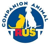 Companion Animal Trust (Jersey City, New Jersey) logo white dog, yellow cat on blue background