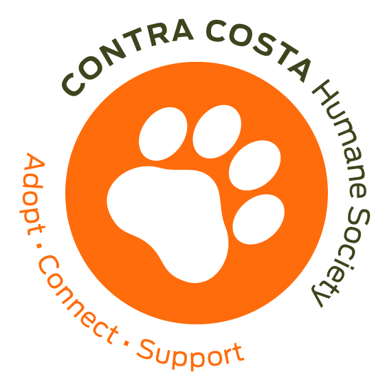 Contra Costa Humane Society (Pleasant Hill, California) logo orange cirle with white paw in the middle lettering around circle