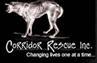 Corridor Rescue (Houston, Texas) logo with dog on black background