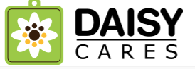 DaisyCares, (San Antonio, Texas) logo green square tag with white flower inside left of text DaisyCares