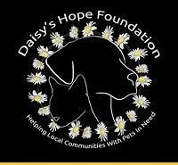 Daisy's Hope Foundation (Upland,California) logo with dog and catinsidecircle of daisies