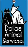 Dallas Animal Services (Dallas, Texas) logo: Dog and cat sitting on black box
