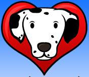 Dalmatian Rescue of Tampa Bay (Tampa, Florida) logo: Dalmatian head inside read heart