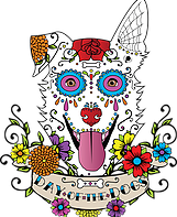 Day of the Dogs (Cypress, Texas) logo has a dog face in the colorful Day of the Dead style