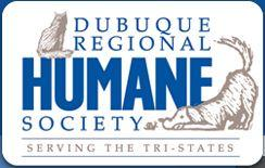 Dubuque Regional Humane Society (Dubuque, Iowa) logo with name in blue, drawings of dog & cat on either side & tagline below
